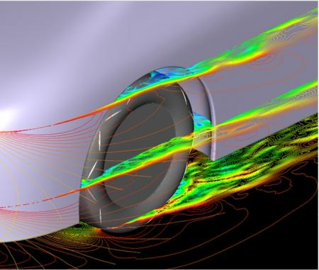The flow patterns for an aerodynamic tire with Yokohama's new fins (Image credit: Yokohama)
