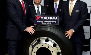 Hikomitsu Noji, president and representative director of The Yokohama Rubber Co., Ltd., Mississippi Gov. Phil Bryant and other dignitaries at the opening of the Mississippi plant. (Image credit: Yokohama Tire)