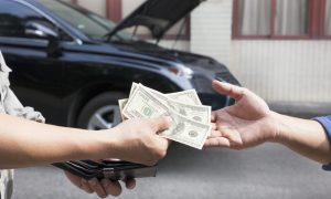 giving and taking money for new car customer.care service concept