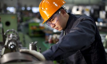 Technician working in factory