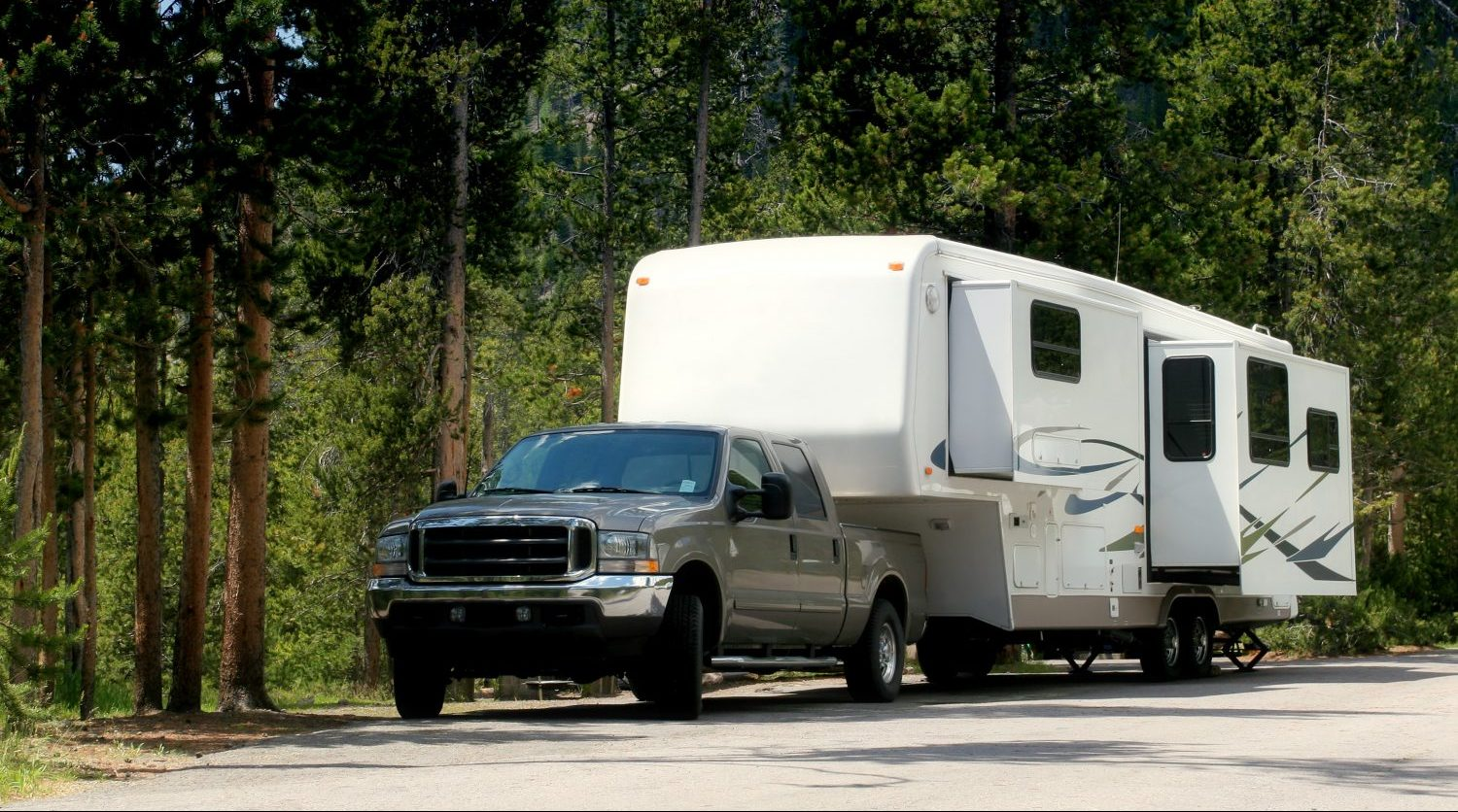 a camper / trailer in yellowstone national park