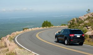 SUV on Cadillac Mountain drive in Acadia national park