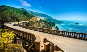 Bixby Creek Bridge on Highway #1 at the US West Coast traveling south to Los Angeles