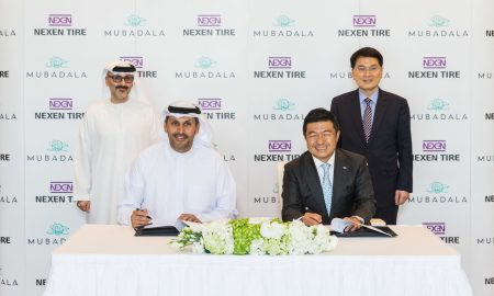From Left: Waleed Al Mokarrab Al Muhairi (Deputy Group CEO & Chief Executive Officer of Mubadala Investment Company), Khaldoon Al Mubarak (Group Chief Executive Officer & Managing Director of Mubadala Investment Company), Travis Kang (CEO of Nexen Tire), Frank Chung (Vice President of Nexen Tire) (PRNewsfoto/Nexen Tire)
