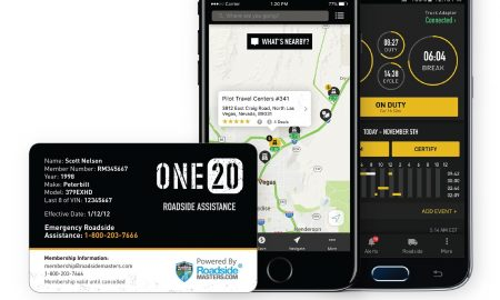 ONE20 Roadside Membership Card, along with app screens for the ONE20 F-ELD and My ONE20 Apps (PRNewsfoto/ONE20)