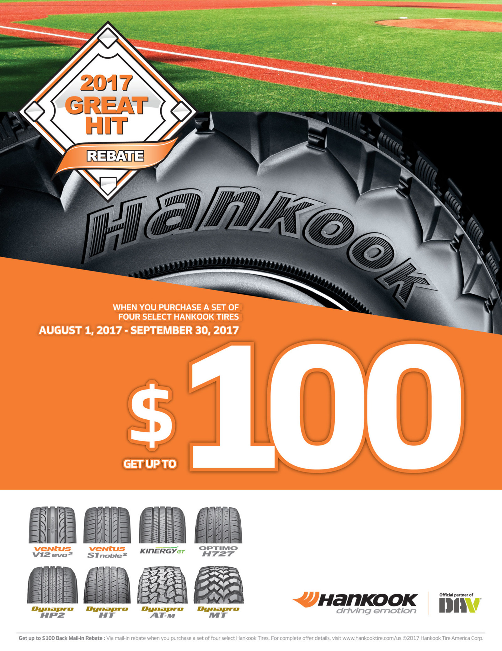 With Hankook Tire's Great Hit Rebate, consumers can save up to $100 on eight of Hankook's most popular passenger and light truck tire models. (PRNewsfoto/Hankook Tire America Corp.)