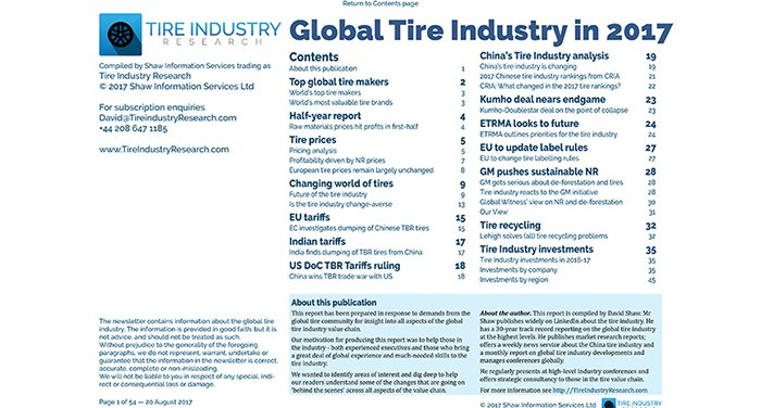 Top Tire Brands >> The Global Tire Industry In 2017