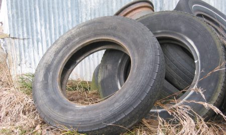 Pile of used tires.