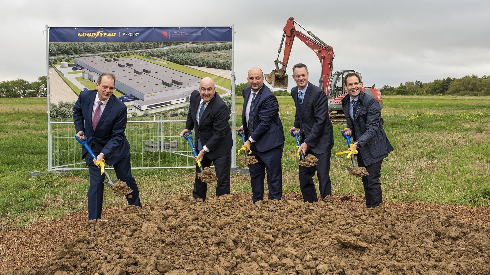 Groundbreaking Goodyear Mercury Production. Right to left Dan Biancalana Richard J. Kramer Etienne Schneider Chris Delaney Carlos Cipollitti