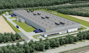 This is an illustration of the new, automated tire facility to be built in Luxembourg by The Goodyear Tire & Rubber Company. The facility will use an innovative production process called Mercury that features highly-automated, inter-connected workstations to efficiently produce premium tires in small-batch quantities. (PRNewsfoto/The Goodyear Tire & Rubber Comp)