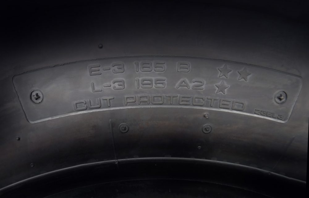 Yokohama dual marked tire-E2L1