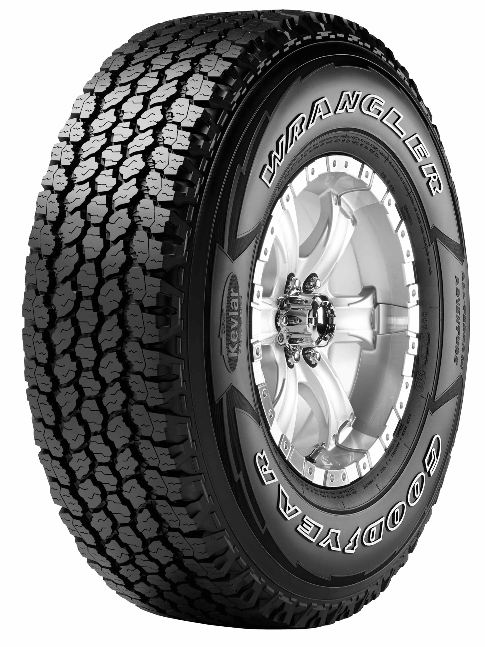 The Goodyear Wrangler All-Terrain Adventure with Kevlar is a tire that can handle on- and off-highway conditions, thanks to its traction ridges, biting edges, Durawall Technology and more. (PRNewsfoto/The Goodyear Tire & Rubber Comp)