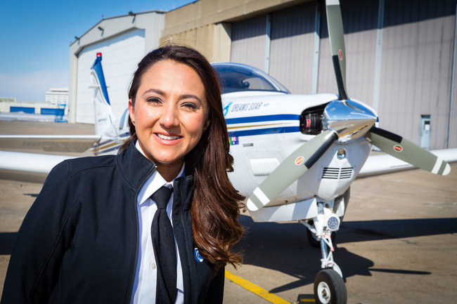 Shaesta Waiz, the youngest woman to fly solo around the world in a single-engine aircraft, will christen Goodyear's newest blimp, Wingfoot Three. (PRNewsfoto/Goodyear Tire & Rubber Company)