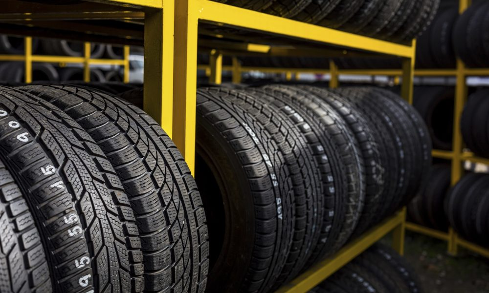 Car industry concept: New tires for sale at a tire store