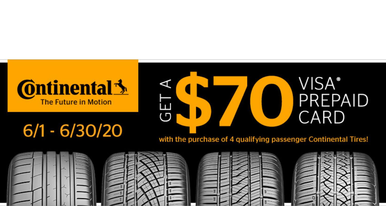 Continental June 2020 rebate tire header